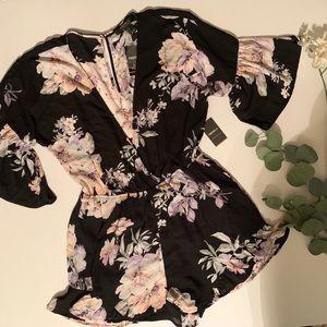 black floral print shorts romper sz large